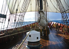 View from deck of a tallship or squarerigger, with capstan Royalty Free Stock Image