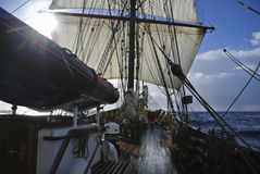 View from deck of a tallship or squarerigger Stock Image