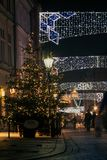 View on the decorated for Christmas city Stock Image