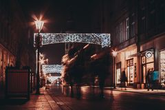 View on the decorated for Christmas old street Stock Images