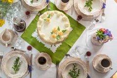View of the decorated table for four guests Royalty Free Stock Photo