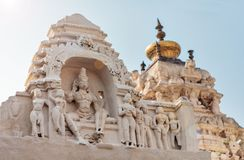 View of deity`s, roofs and tops of the Virupaksha temple complex. stock photography