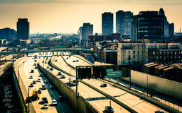 View of the Delaware Expressway from the Ben Franklin Bridge Wal Stock Photo