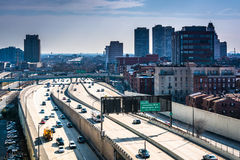 View of the Delaware Expressway from the Ben Franklin Bridge Wal Royalty Free Stock Images