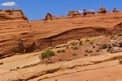 View of Delicate Arch from a distance, Arches National Park, UT, USA. View of Delicate Arch from a distance, Arches National Park, Grand County, Utah, USA Royalty Free Stock Photo