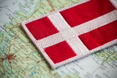 Denmark flag on map. View of the Denmark flag on map Royalty Free Stock Photo