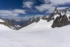 View of the Dente del Gigante in the Mont Blanc massif. View of the Dente del Gigante in the Mont Blanc massif Stock Image