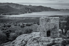 View of derelict building and coast near Galeria in Corsica Stock Photography