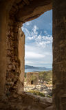 View of derelict building and coast near Galeria in Corsica Stock Photos