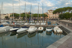 View of Desenzano del Garda harbour, captured at early morning, Stock Photos
