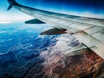 View of cracked earth from Airplane stock image