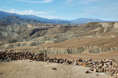 View of desert from. View of desert and defense walls from Pucara de Copaquilla in northern Chile Royalty Free Stock Images