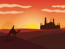 View of desert with Mosque for Islamic Festivals. Creative illustration of a man riding camel on the desert with creative mosque silhouette in the distance Royalty Free Stock Image