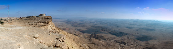 View on desert of the Negev in Mizpe-Ramon, Israel Royalty Free Stock Photo