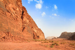 View on desert rock formation - Wadi Rum, Jordan Stock Images