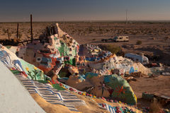 View of the desert from Salvation mountain, California Stock Images