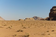 View of the desert in the Wadi Rum Stock Photography