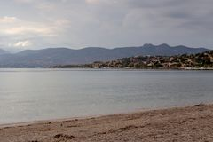 View of a deserted beach on island Salamis Greece Stock Photography