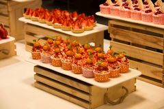 Dessert buffet with delicious sweet bakery Royalty Free Stock Photos