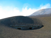View of destroyed house at volcano crater, Etna stock photos