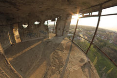 View from destroyed water tower. Stock Photo