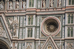 View of detail carved in marble from the facade of the Cathedral Santa Maria del Fiore. In the city of Florence, the famous and wonderful capital of the Royalty Free Stock Images