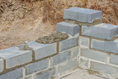View on detail of new wall - Construction site Stock Photography