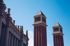 View of details of the towers in Barcelona, Spain. Plaza de Esp stock image
