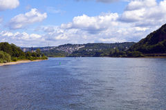 View from Deutsches Eck in Koblenz Stock Image