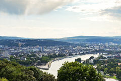 View of Deutsches Eck in Koblenz town, Germany Stock Photo