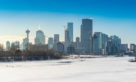 View of developing Calgary downtown Royalty Free Stock Images