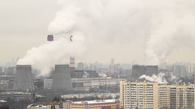 View of the development of Moscow winter day. View of smocking pipes of Moscow winter day to Ozernaya street timelapse 4K stock video footage