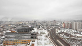 View of the development of Moscow winter day stock video