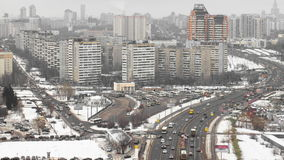 View of the development of Moscow winter day. To Ozernaya street timelapse 4K stock video