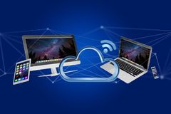 Devices like smartphone, tablet or computer flying over connecte Royalty Free Stock Photos