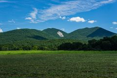 View of the Devil's Marbleyard from Arnold Valley. A view of Devil's Marbleyard from Arnold Valley located in the Blue Ridge Mountains, Rockbridge County Stock Photo