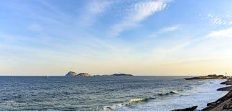 View of Devil beach, the sea and islands. Of Ipanema, Rio de Janeiro royalty free stock photo