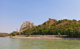 View of Devin castle from Danube River in Slovakia Royalty Free Stock Photos