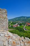 View of Devin town from Devin castle. Slovakia Royalty Free Stock Photo