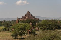 View of the Dhammayan Gyi Temple, Bagan. Panoramic View of the archaeological park of the ancient temples and pagodas of Bagan. Myanmar royalty free stock photos