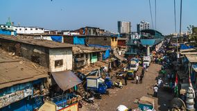 View of dharavi entrance the big slum in the city of bombay stock images