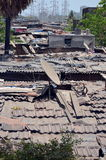 View on Dharavi slums. Dharavi. Maharashtra, Mumbai, India. One of the largest slums in the world. Top view Stock Photography