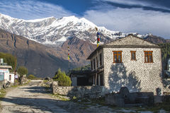 View of Dhaulagiri and the village of Kalapana Stock Photos