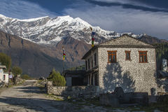 View of Dhaulagiri and the village of Kalapana Royalty Free Stock Images