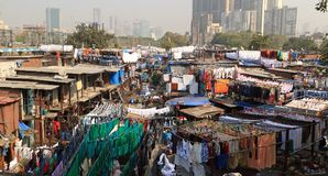 A view of Dhobi Ghat - rows of washing. Lines of jeans hanging on the line in Dhobi Ghat - an outside laundry in Mumbai Stock Photography