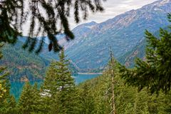 View from the Diablo Lake trail in North Cascades. Diablo Lake trail in North Cascades National Park, Washington Royalty Free Stock Photography