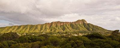 View of Diamond Head on a cloudy afternoon from Waikiki Royalty Free Stock Photography
