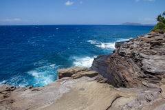 View of Diamond Head from Spitting Caves Royalty Free Stock Photo