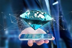 Diamond shinning in front of connections - 3d render. View of a  Diamond shinning in front of connections - 3d render Stock Photography