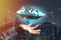 Diamond shinning in front of connections - 3d render. View of a  Diamond shinning in front of connections - 3d render Royalty Free Stock Photography